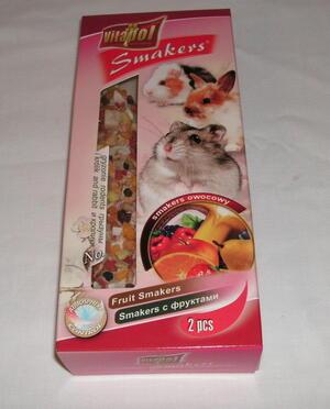 Krackers små djur, 2 st kolvar med frukt.